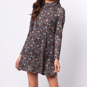 Mock neck flowered print dress
